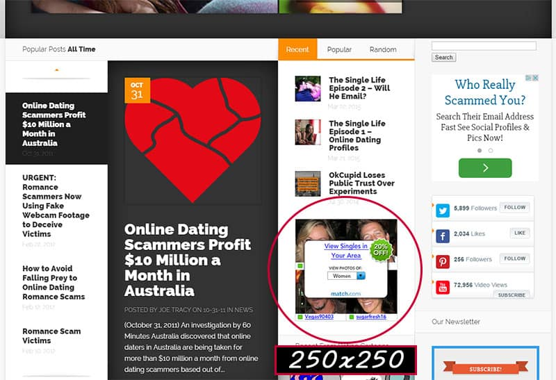 250x250 ad on Home Page of Online Dating Magazine