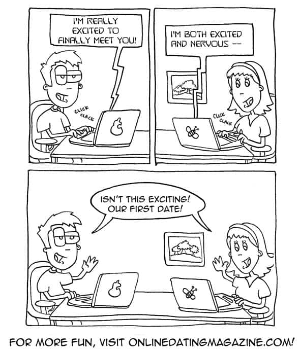 This funny first date cartoon by Online Dating Magazine shows how one online dating couple conducts their first date...